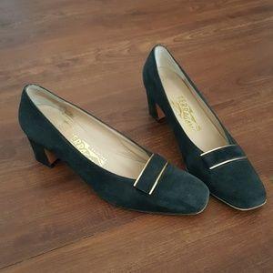 Ferragamo Black Suede Heels